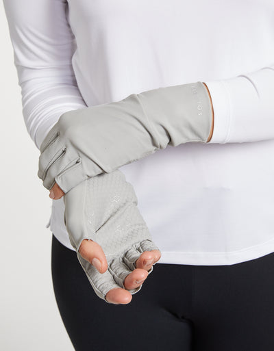 Solbari Sun Protection Women UPF50+ Fingerless Driving Gloves in Light Grey