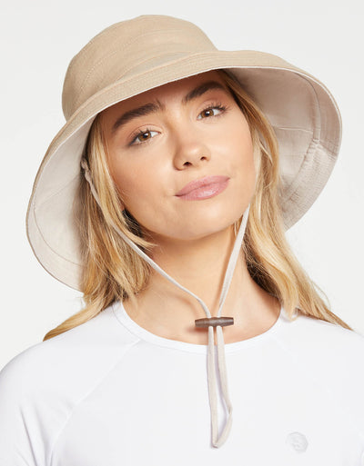 Solbari Sun Protection Women UPF50+ Holiday Reversible Sun Hat in Natural / Beige