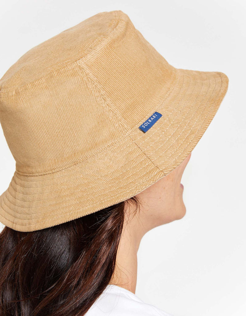 Solbari Sun Protection Women UPF 50+ Reversible Corduroy Bucket Hat in Light Brown & Beige