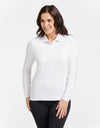 Solbari Sun Protection UPF50+ Women Long Sleeve Polo Shirt Sensitive Collection in White