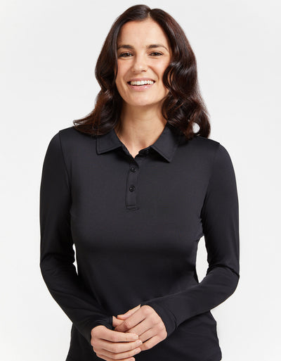 Solbari Sun Protection Women's UPF50+ Active Long Sleeve Polo Shirt in Black