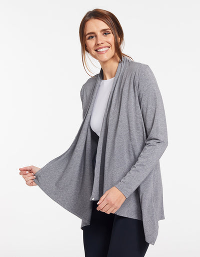 Solbari Sun Protection UPF50+ Women's Sun Wrap Sensitive Collection in Dark Grey Marle
