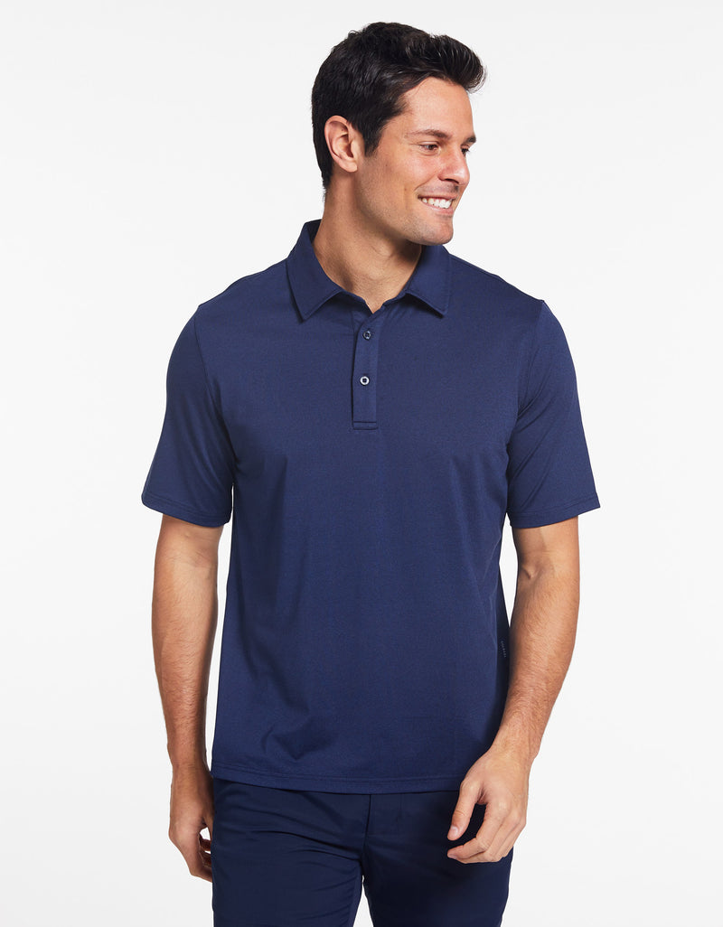 Solbari Sun Protection Men's UPF50+ Active Short Sleeve Polo in Dark Navy