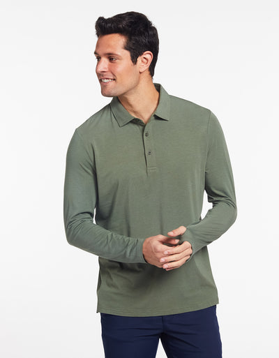 Solbari Sun Protection Men's UPF50+ Long Sleeve Polo in Eucalyptus Green Sensitive Collection