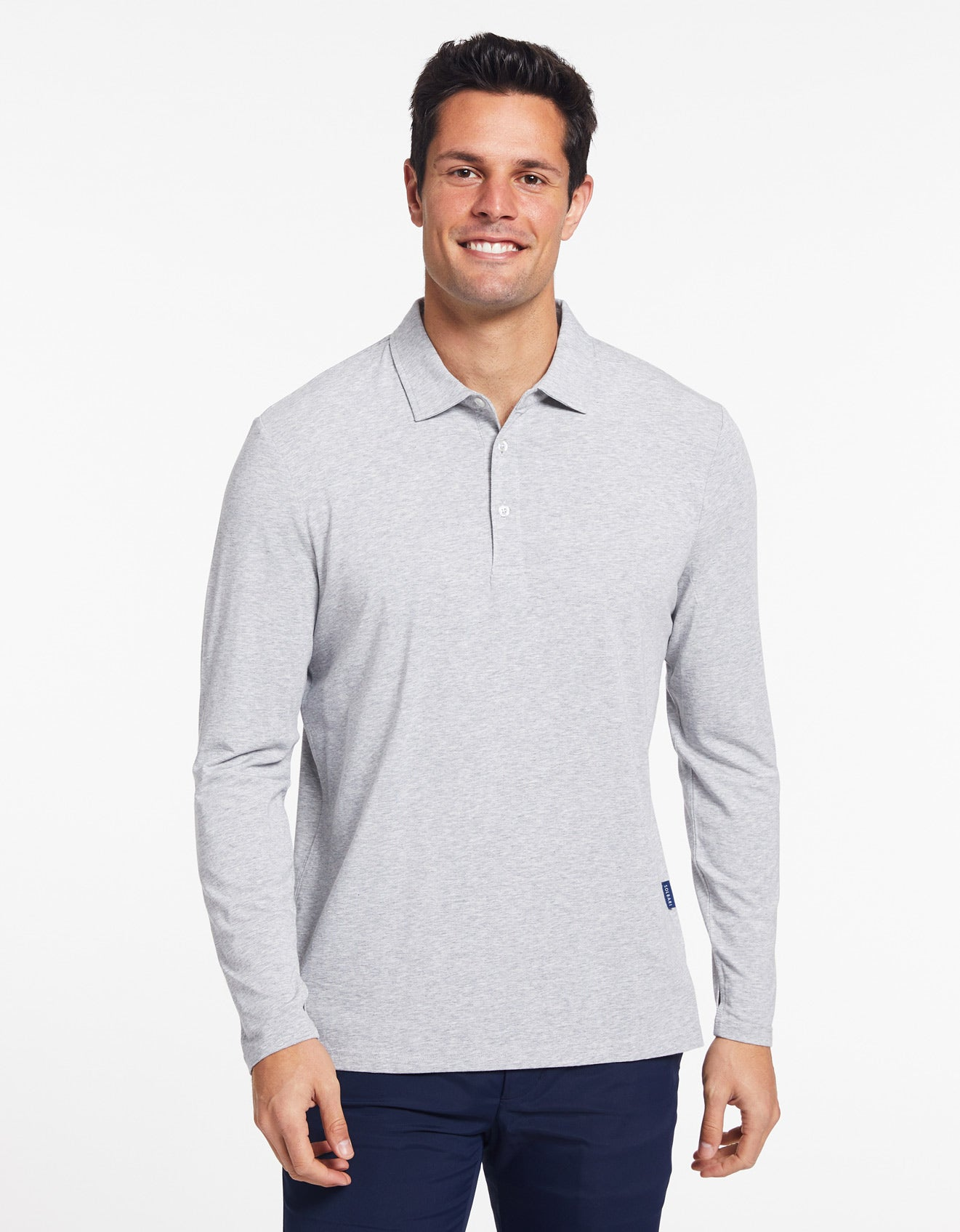 Solbari Sun Protection Men's UPF50+ Long Sleeve Polo in Light Grey Marle Sensitive Collection