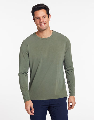Solbari Sun Protection Men's UPF50+ Long Sleeve T-Shirt in Eucalyptus Green Sensitive Collection