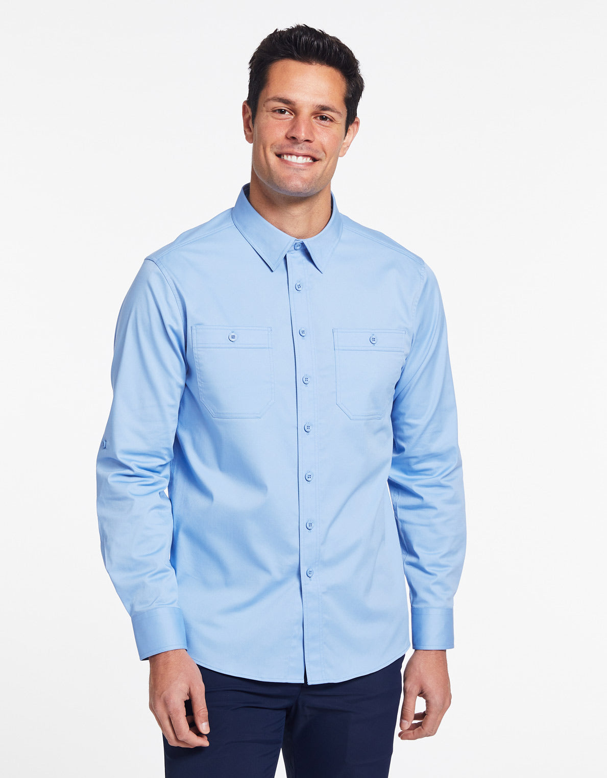Solbari Sun Protection UPF 50+ Outback Shirt in Blue Technicool Collection