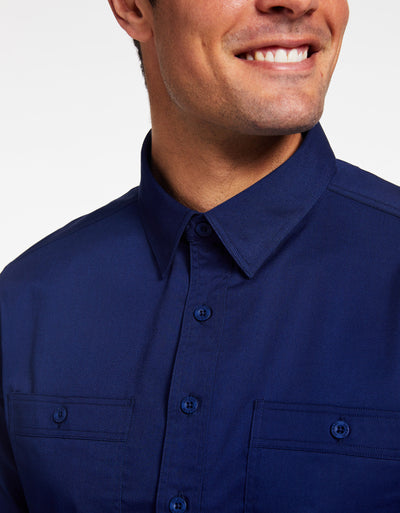 Solbari Sun Protection UPF 50+ Outback Shirt in Navy Technicool Collection