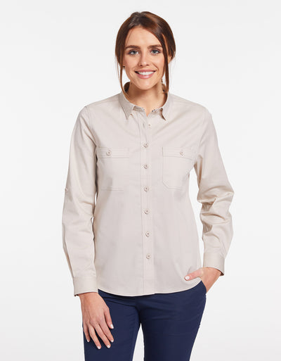 Solbari Sun Protection Women's UPF50+ Outback Shirt in Beige Technicool Collection