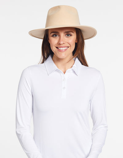 Solbari Sun Protection UPF50+ Women's Torquay Fedora in Sand with Silver SB Pin