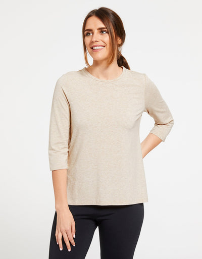 Solbari Sun Protection Women's UPF50+ 3/4 Sleeve T-shirt in Oatmeal