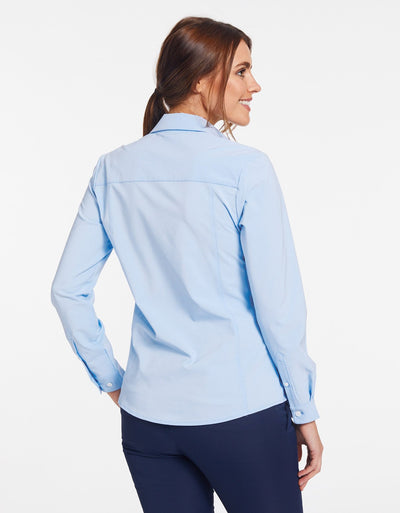 Solbari Sun Protection UPF50+ Women's Business Shirt in Light Blue Dry Flex Collection