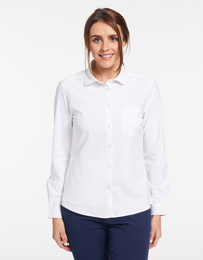 Solbari Sun Protection UPF50+ Women's Business Shirt in White Dry Flex Collection