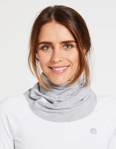 Solbari Sun Protection UPF50+ Curved Face & Neck Gaiter in Light Grey Marle Sensitive Collection