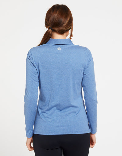 Solbari Sun Protection UPF50+ Women's Long Sleeve Polo Active Collection in Ocean Blue