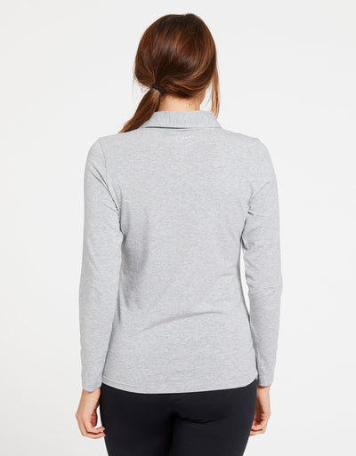 Solbari Sun Protection UPF50+ Women's Long Sleeve Polo Sensitive Collection in Light Grey Marle