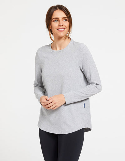 Solbari Sun Protection Women's UPF50+ Long Sleeve Swing Top in Light Grey Marle
