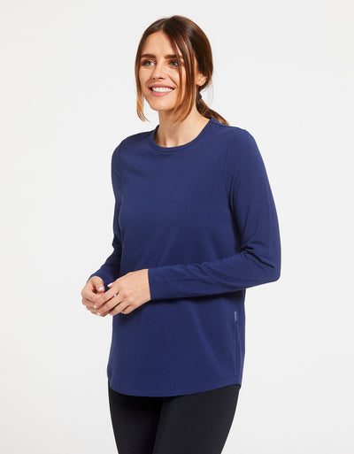 Solbari Sun Protection Women's UPF50+ Long Sleeve Swing Top in Navy