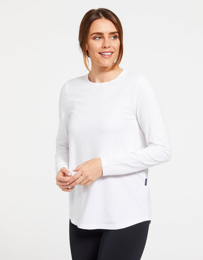 Solbari Sun Protection Women's UPF50+ Long Sleeve Swing Top in White