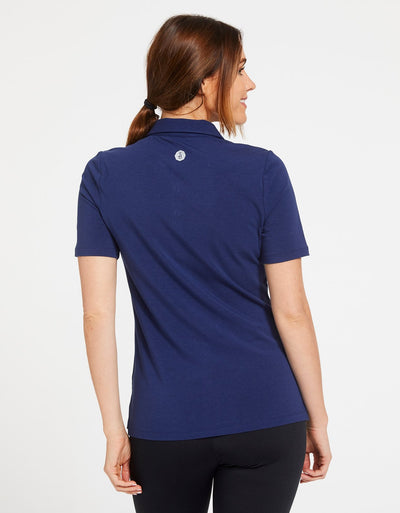 Solbari Sun Protection Women's UPF50+ Short Sleeve Polo Shirt in Navy Sensitive Collection