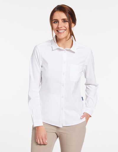 Solbari Sun Protection UPF50+ Women's Weekend Shirt in White Dry Flex Collection
