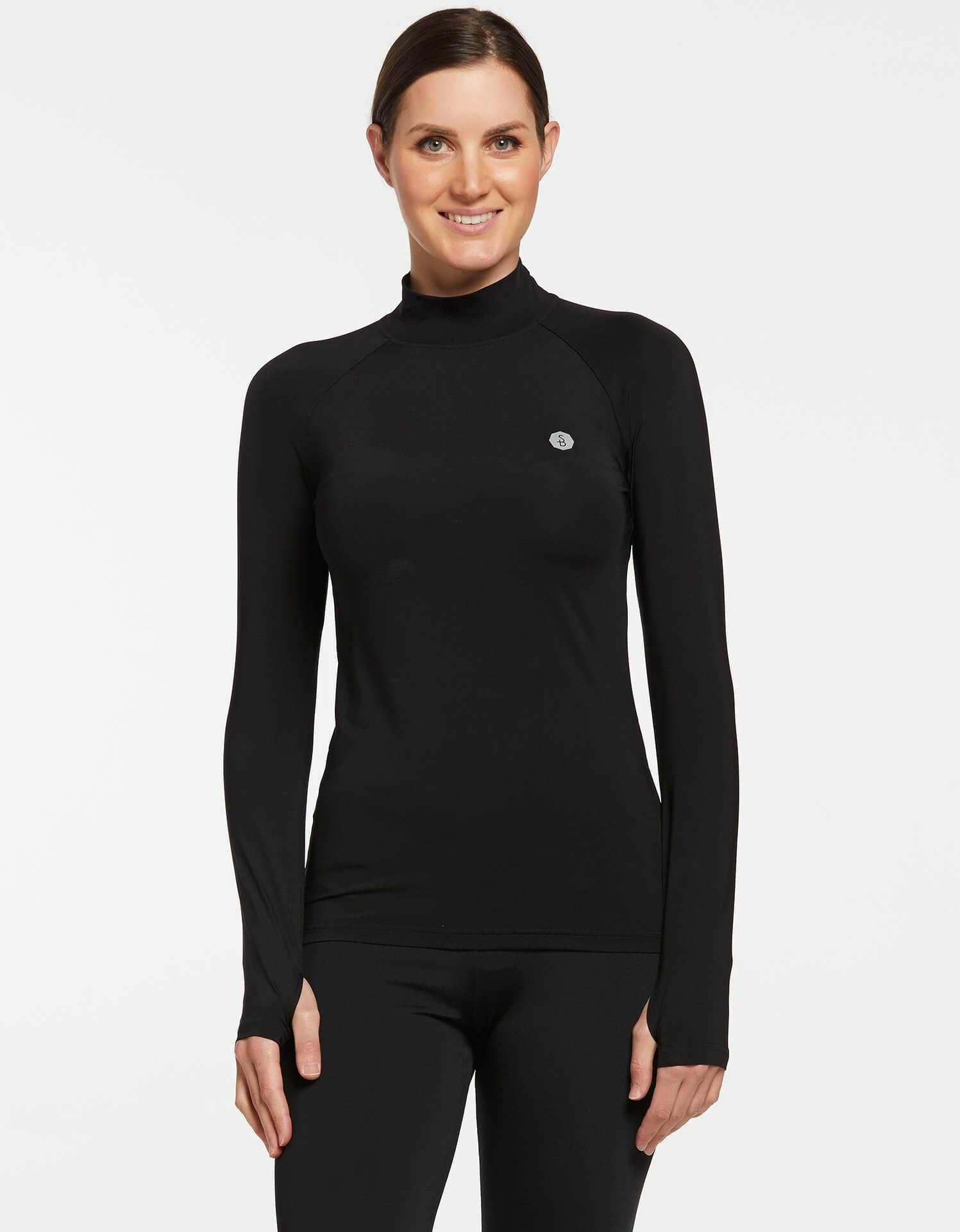 Solbari UPF 50+ Sun Protective Black Turtleneck Base Layer for Women 0