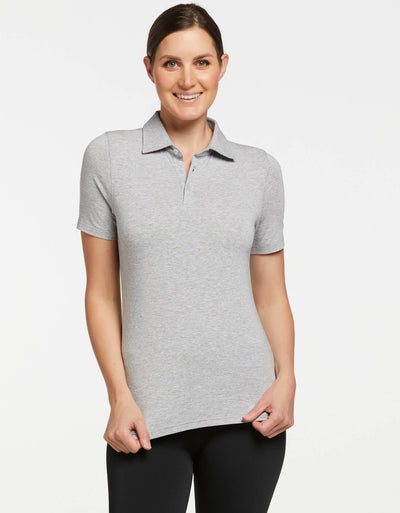 Solbari UPF 50+ Sun Protective Light Grey Marle Short Sleeve Polo Sensitive Collection for Women 0