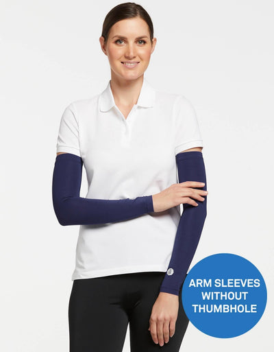 Solbari UPF 50+ Sun Protective Navy Arm Sleeves for Women