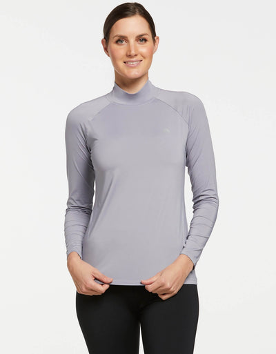 Solbari UPF 50+ Sun Protective Silver Turtleneck Base Layer for Women 0