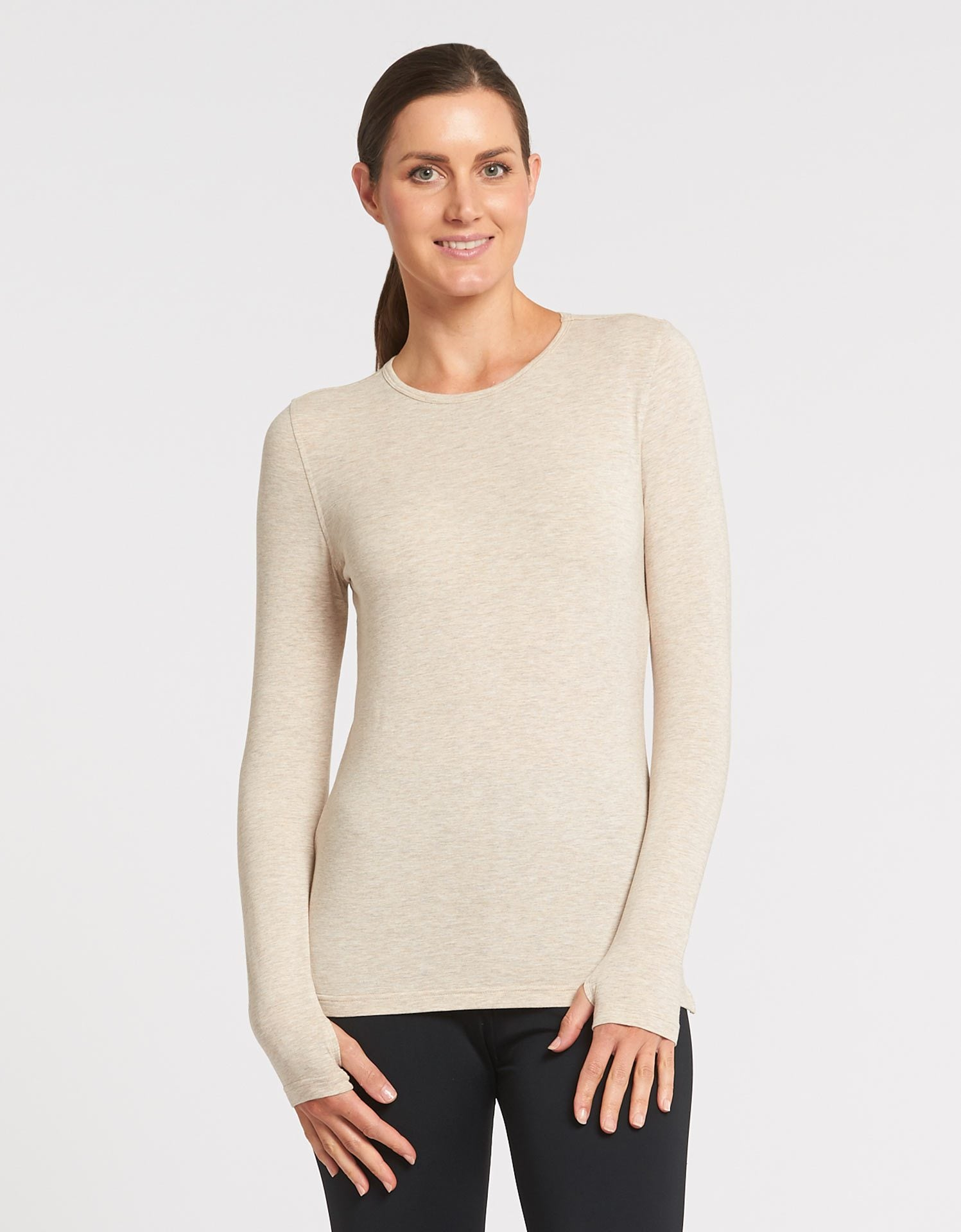 Solbari UPF 50+ Sun Protection Oatmeal Long Sleeve T-Shirt Sensitive Collection for Women