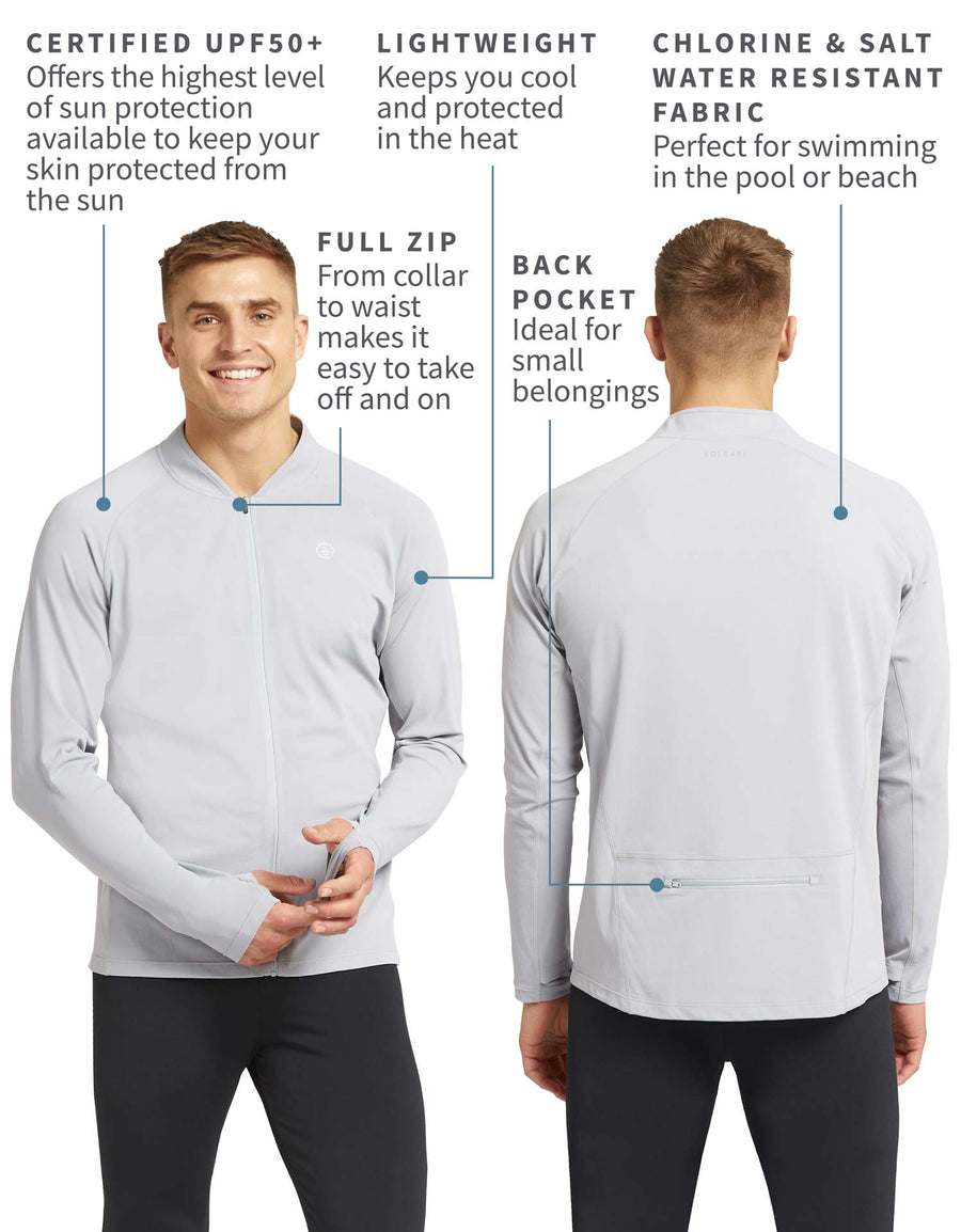 Solbari UPF 50+ Sun Protection Cool Grey Full Zip Top With Back Zip Pocket for Men