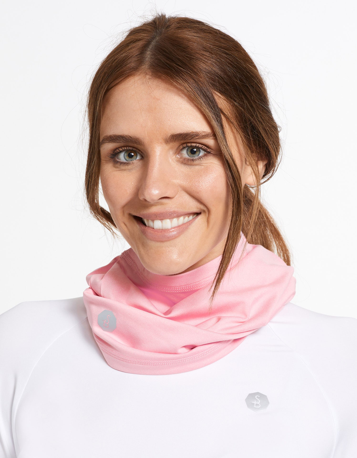 Solbari Sun Protection UPF50+ Face & Neck Gaiter Active Collection in Cool Pink