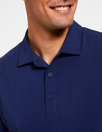 Solbari Sun Protection Men's UPF50+ Short Sleeve Polo Shirt in Navy Sensitive Collection