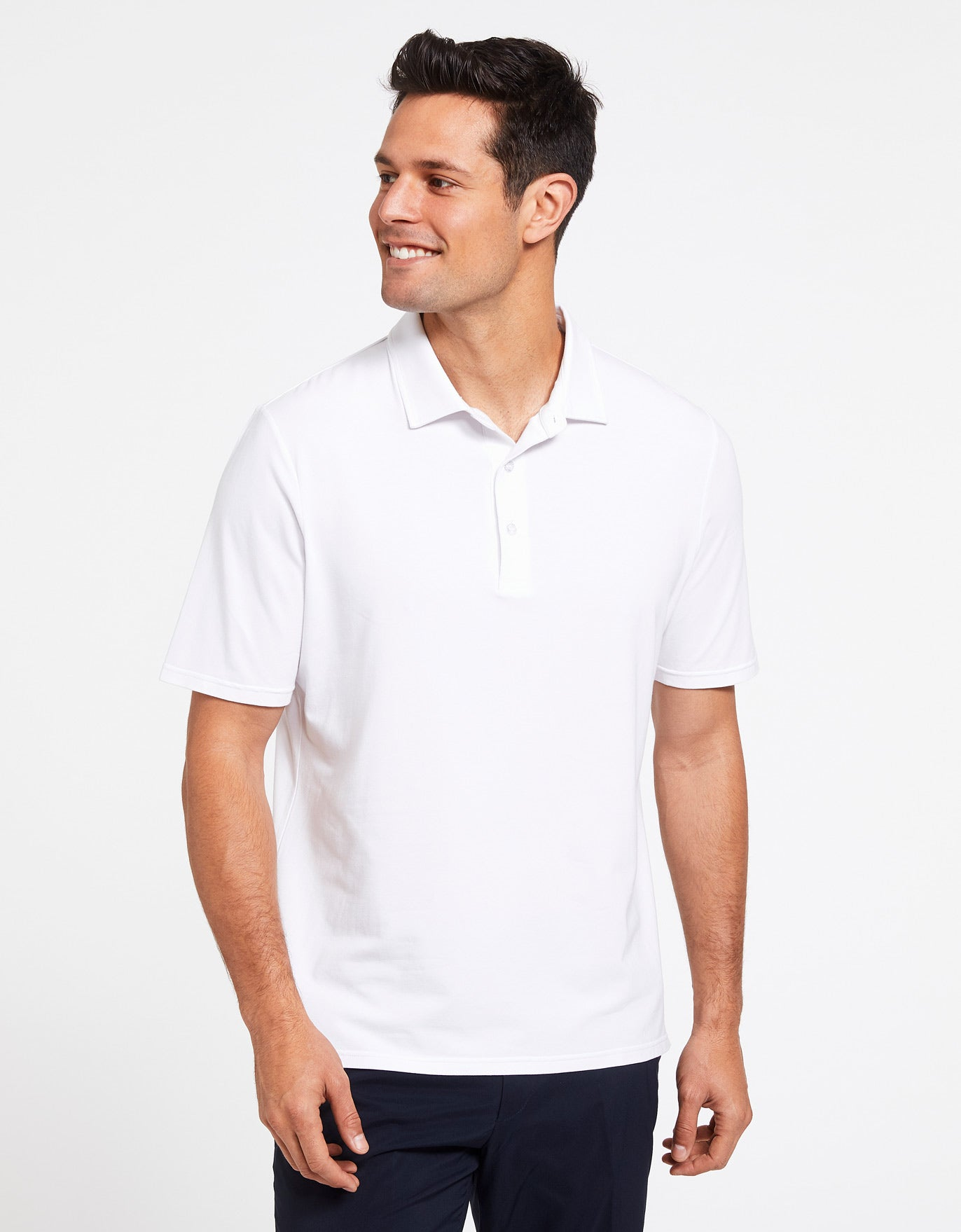Solbari Sun Protection Men's UPF50+ Short Sleeve Polo Shirt in White Sensitive Collection