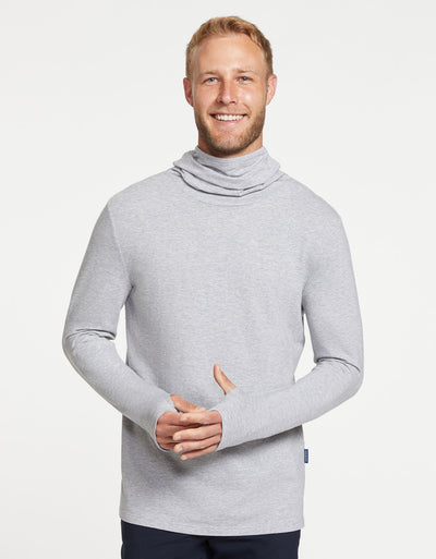 Solbari Sun Protection Men UPF50+ Ultimate Long Sleeve High Neck T-shirt in Light Grey Marle Sensitive Collection