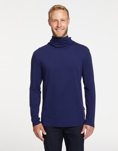 Solbari Sun Protection Men UPF50+ Ultimate Long Sleeve High Neck T-shirt in Navy Sensitive Collection