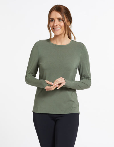 Solbari Sun Protection UPF50+ Women's Long Sleeve T-Shirt Sensitive Collection in Eucalyptus