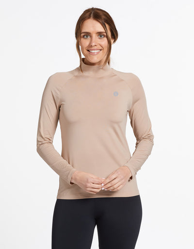 Solbari Sun Protection Women's UPF50+ Turtleneck Base Layer Top in Beige