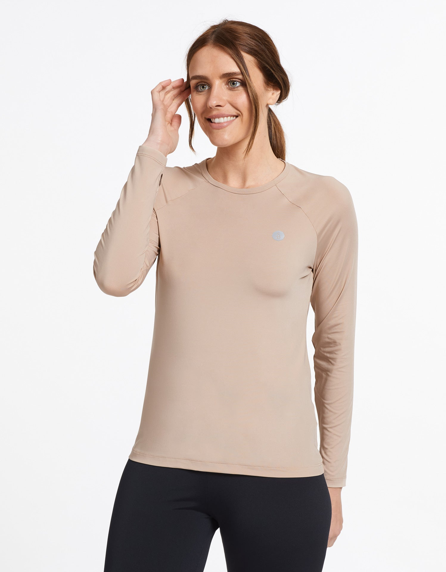 Solbari Sun Protection Women's UPF50+ Base Layer Top in Beige