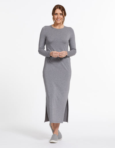 Solbari Sun Protection UPF50+ Long Sleeve Maxi Dress Sensitive Collection in Dark Grey Marle