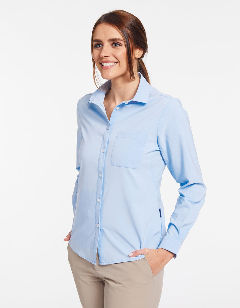 Solbari Sun Protection UPF50+ Women's Weekend Shirt in Light Blue Dry Flex Collection