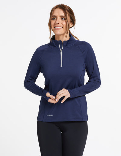 Solbari Sun Protection UPF50+ Women's Quarter Zip Top Active Collection in Dark Navy