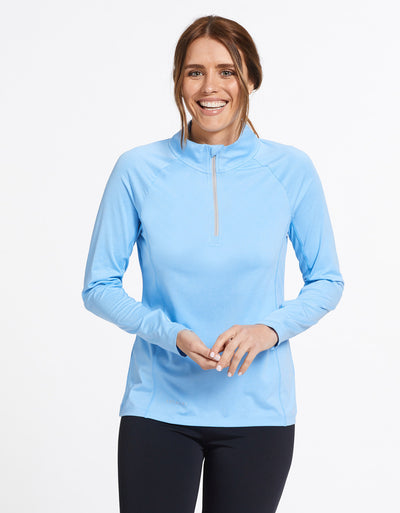 Solbari Sun Protection UPF50+ Women's Quarter Zip Top Active Collection in Sky Blue