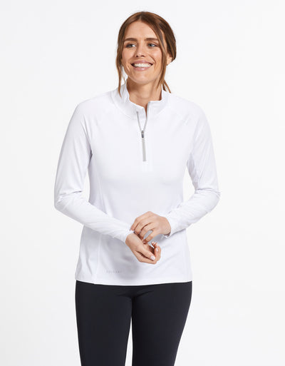 Solbari Sun Protection UPF50+ Women's Quarter Zip Top Active Collection in White