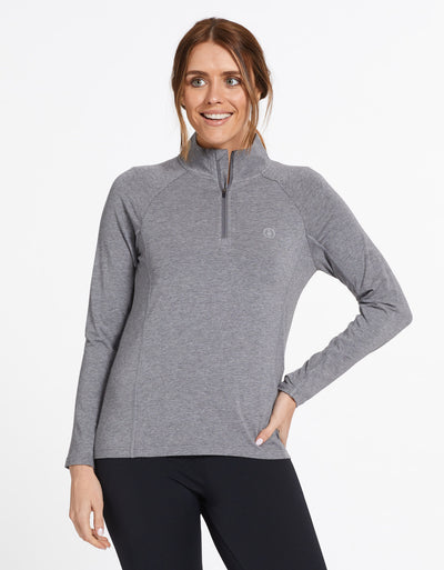 Solbari Sun Protection UPF50+ Women's Quarter Zip Top Sensitive Collection in Dark Grey Marle