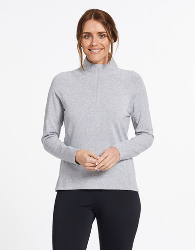 Solbari Sun Protection UPF50+ Women's Quarter Zip Top Sensitive Collection in Light Grey