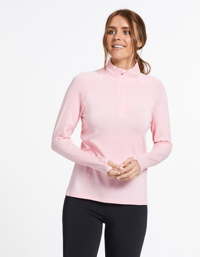 Solbari Sun Protection UPF50+ Women's Quarter Zip Top Sensitive Collection in Light Pink