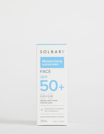 Solbari Moisturising SPF50+ Face Sunscreen, 30ml