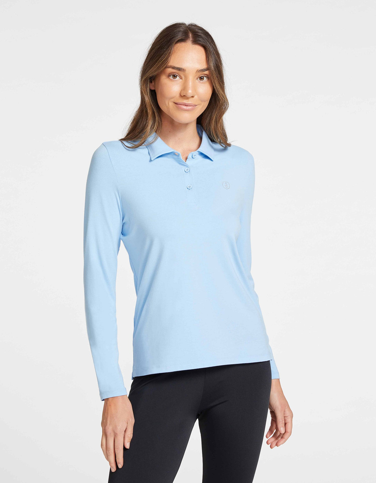 Solbari Sun Protection UPF50+ Women Long Sleeve Polo Shirt Sensitive Collection in Light Blue