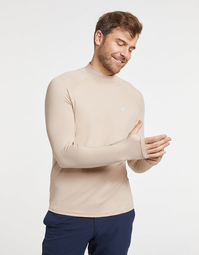 Solbari Sun Protection Men UPF50+ CoolaSun Turtleneck Base Layer in Beige